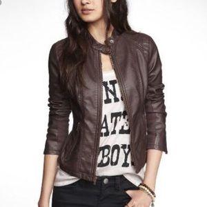 Express Brown Vegan Leather Jacket Size M